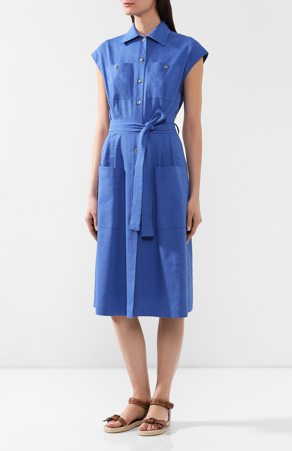 Платье из смеси льна и вискозы L`Enigme синее | Фото №3