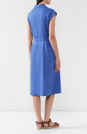 Платье из смеси льна и вискозы L`Enigme синее | Фото №4