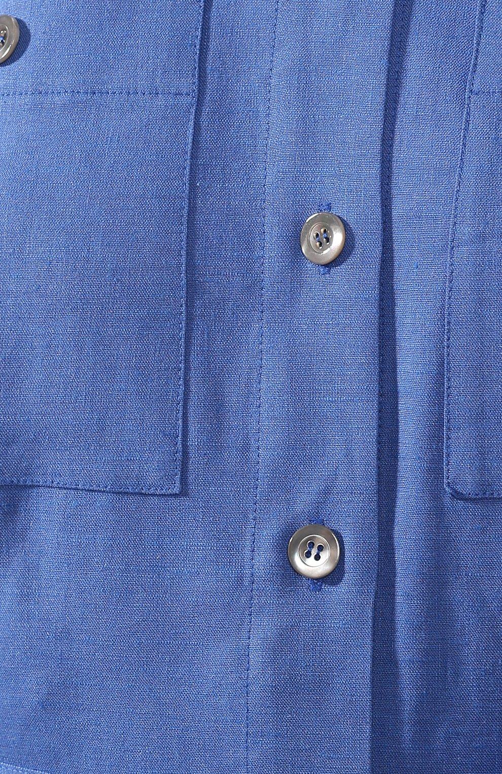 Платье из смеси льна и вискозы L`Enigme синее | Фото №5