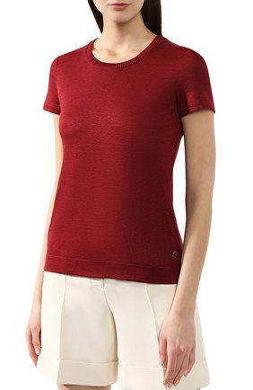 Льняная футболка Loro Piana бордовая   Фото №3