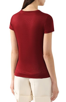 Льняная футболка Loro Piana бордовая   Фото №4