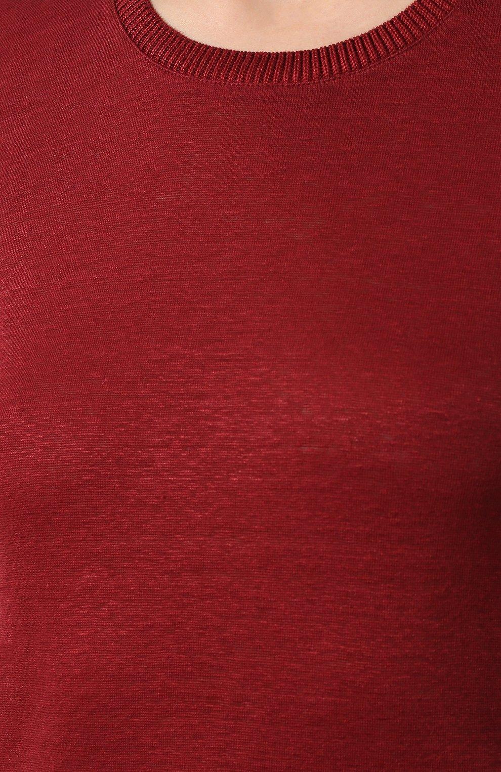 Льняная футболка Loro Piana бордовая   Фото №5