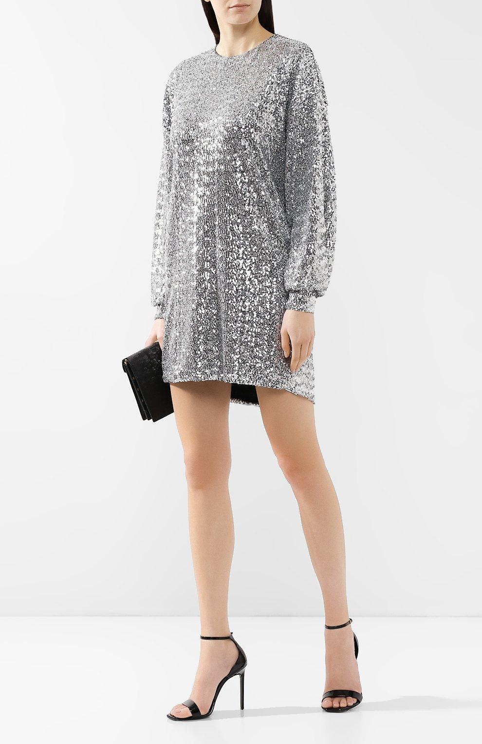 Платье с пайетками Isabel Marant серебряное | Фото №2