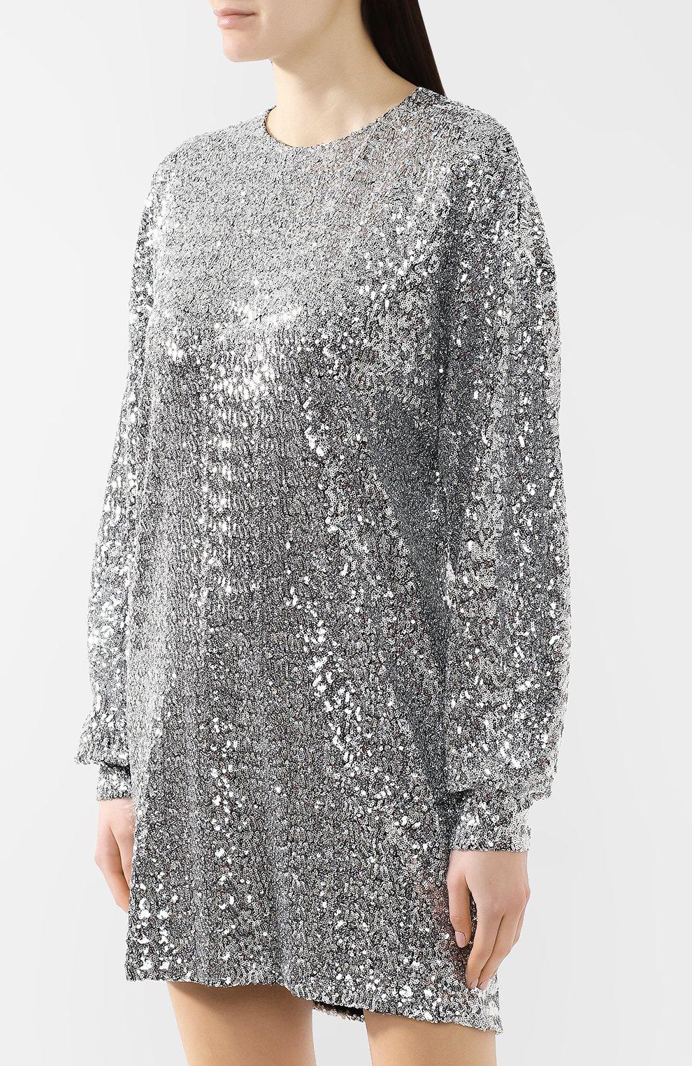 Платье с пайетками Isabel Marant серебряное | Фото №3
