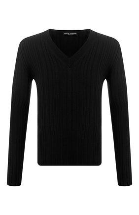 Мужской шерстяной пуловер DOLCE & GABBANA черного цвета, арт. GX443T/JAVKY | Фото 1