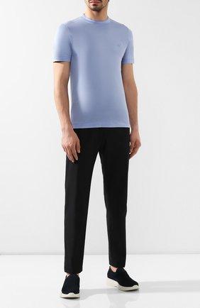 Мужская хлопковая футболка CANALI голубого цвета, арт. T0356/MJ00002   Фото 2