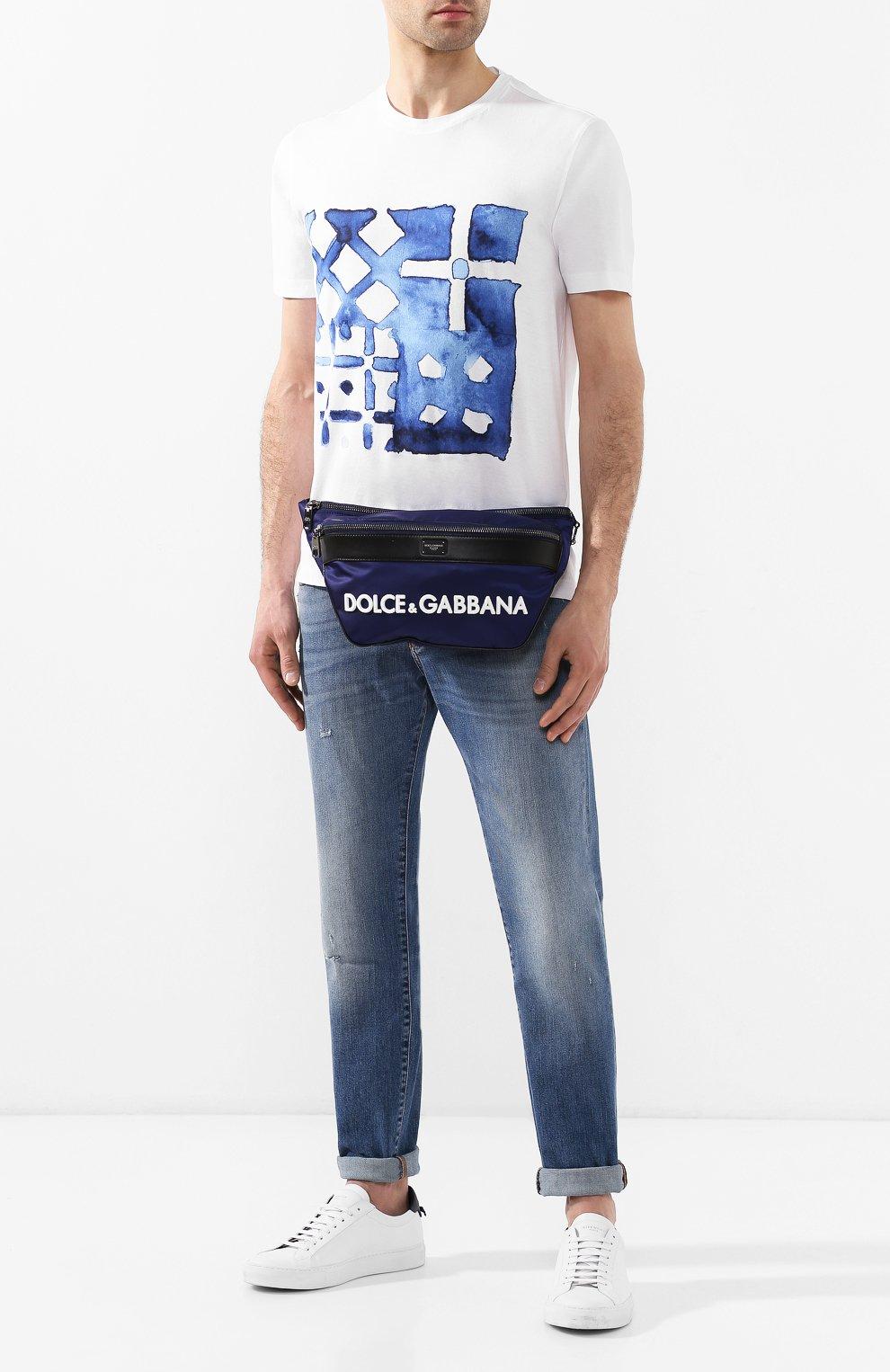 Комбинированная поясная сумка Street Dolce & Gabbana темно-синяя | Фото №2