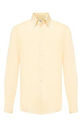 Мужская льняная рубашка BRIONI желтого цвета, арт. SCAD0L/PZ114 | Фото 1 (Длина (для топов): Стандартные; Статус проверки: Проверено, Проверена категория; Рукава: Длинные; Материал внешний: Лен; Принт: Однотонные; Случай: Повседневный; Манжеты: На пуговицах; Воротник: Кент)