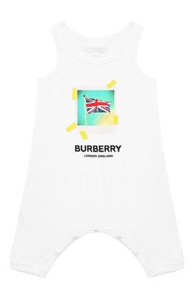 Детский хлопковый комбинезон BURBERRY белого цвета, арт. 8010708 | Фото 1