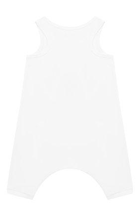 Детский хлопковый комбинезон BURBERRY белого цвета, арт. 8010708 | Фото 2