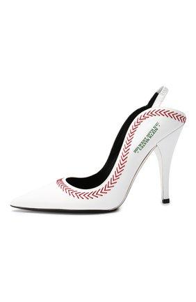 Кожаные туфли CALVIN KLEIN 205W39NYC белые | Фото №3