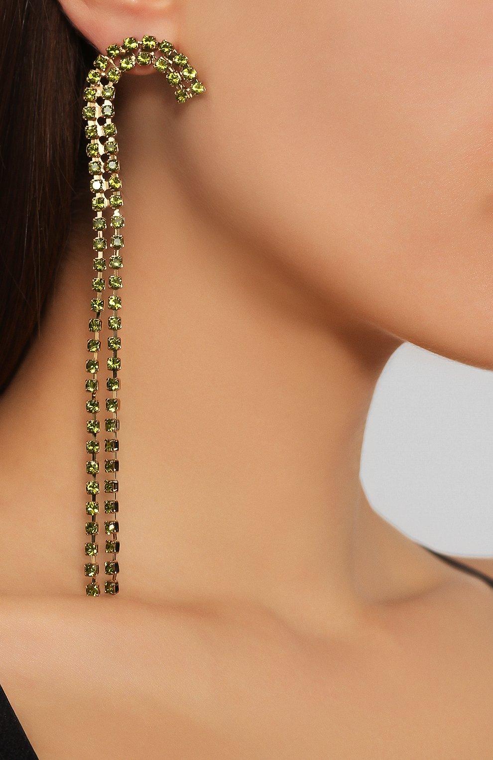 Женские асимметричные серьги rocca JACQUEMUS зеленого цвета, арт. 191JW05 | Фото 2