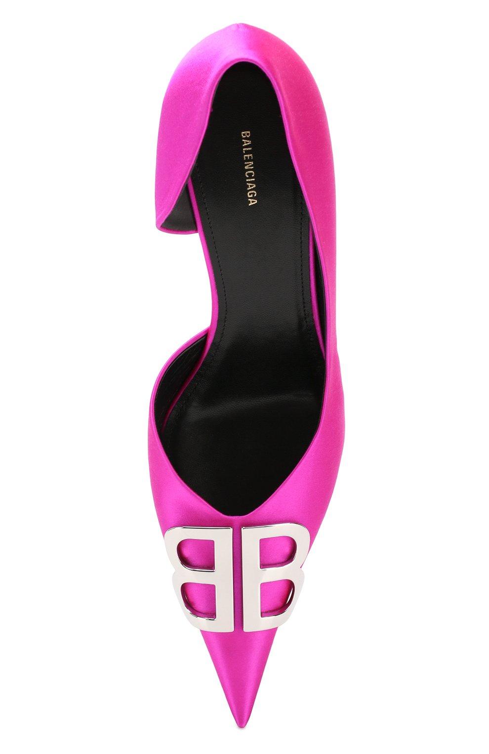 Текстильные туфли BB Balenciaga фуксия | Фото №5