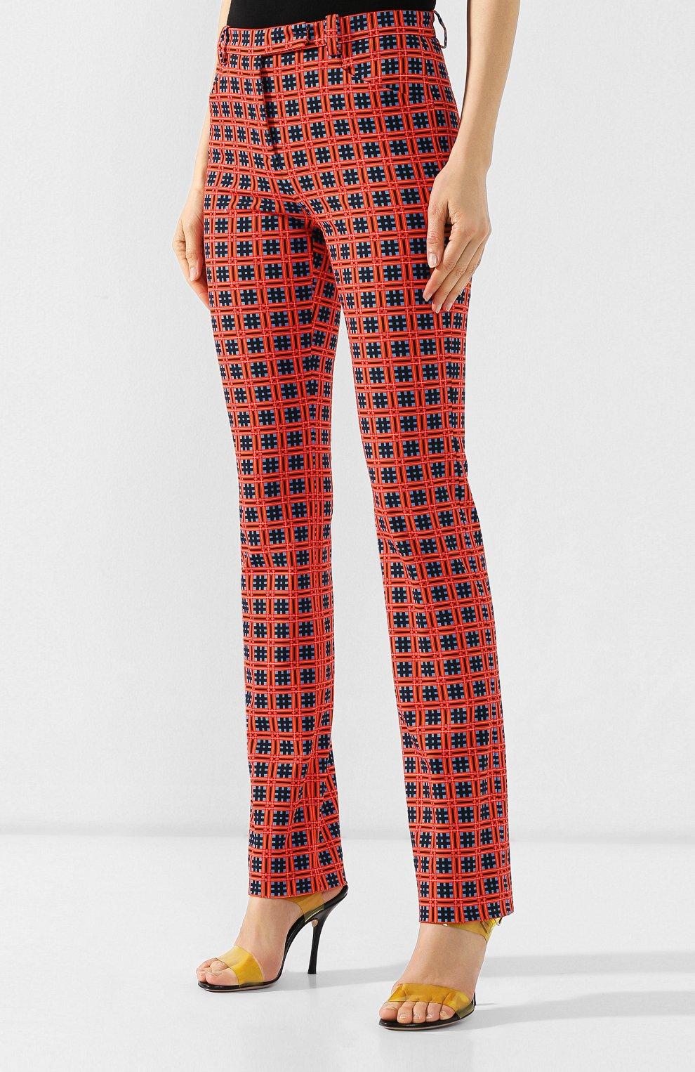 Хлопковые брюки Versace красные | Фото №3