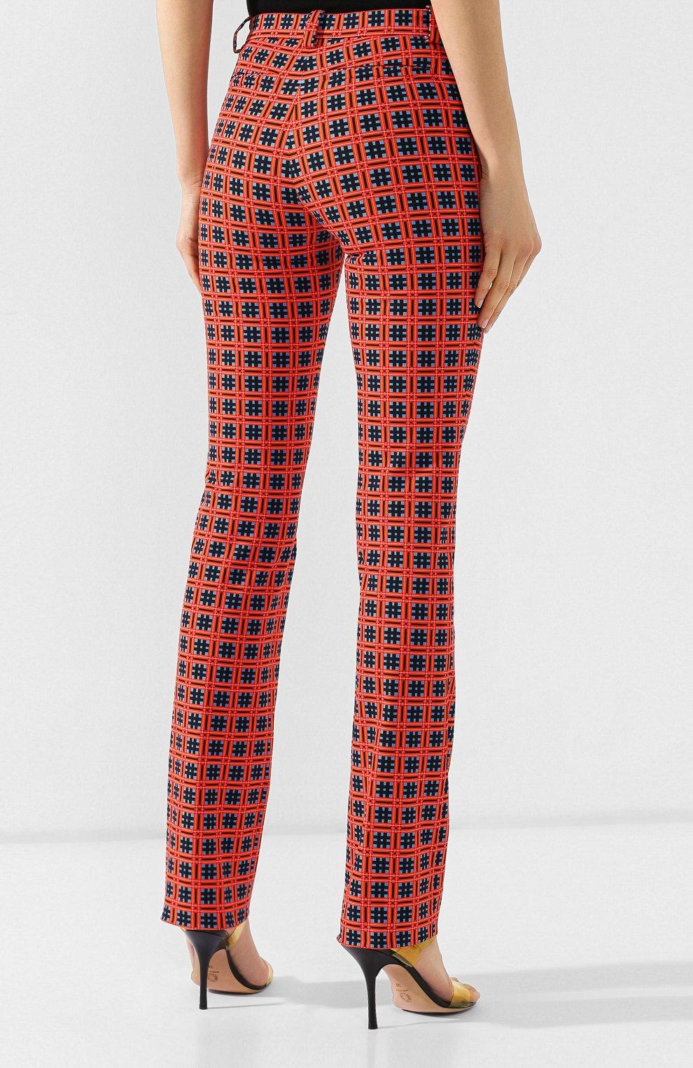 Хлопковые брюки Versace красные | Фото №4