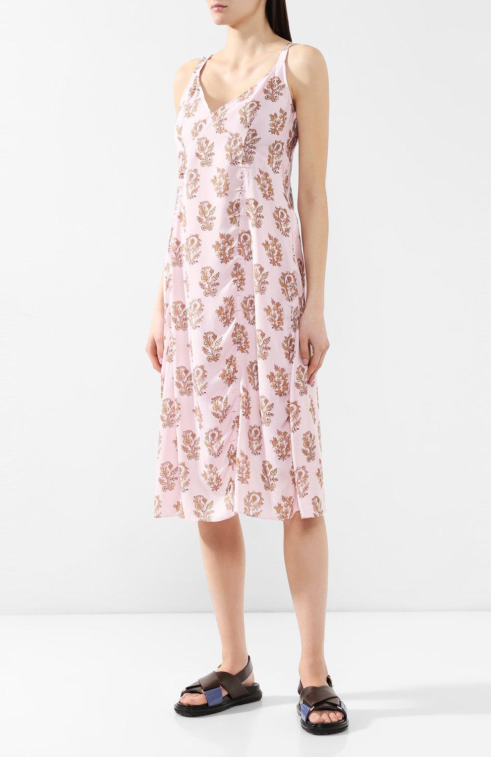 Платье с принтом Acne Studios розовое | Фото №3