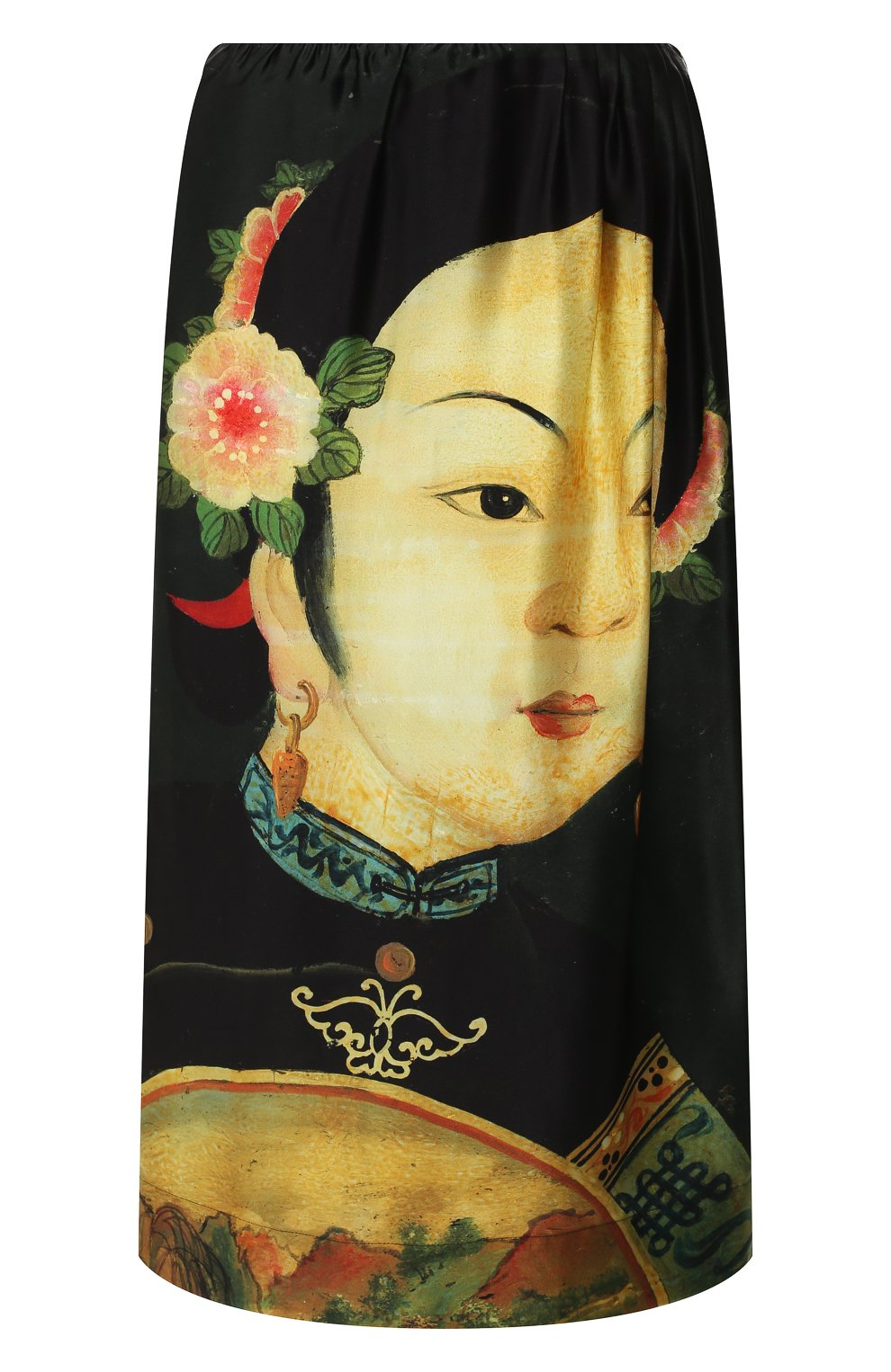 Женская шелковая юбка SIMONE ROCHA черного цвета, арт. 3306/0278   Фото 1 (Материал внешний: Шелк; Длина Ж (юбки, платья, шорты): Миди; Статус проверки: Проверено, Проверена категория)