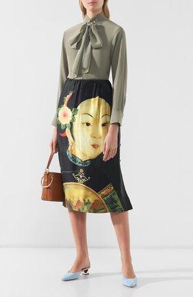 Женская шелковая юбка SIMONE ROCHA черного цвета, арт. 3306/0278   Фото 2 (Материал внешний: Шелк; Длина Ж (юбки, платья, шорты): Миди; Статус проверки: Проверено, Проверена категория)