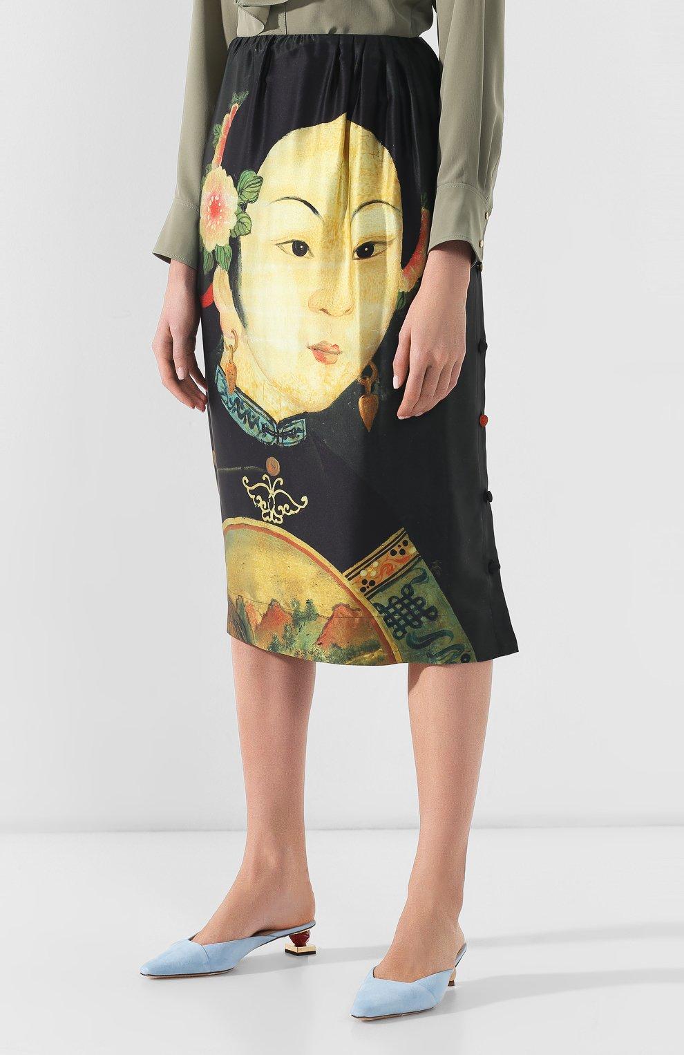 Женская шелковая юбка SIMONE ROCHA черного цвета, арт. 3306/0278   Фото 3 (Материал внешний: Шелк; Длина Ж (юбки, платья, шорты): Миди; Статус проверки: Проверено, Проверена категория)