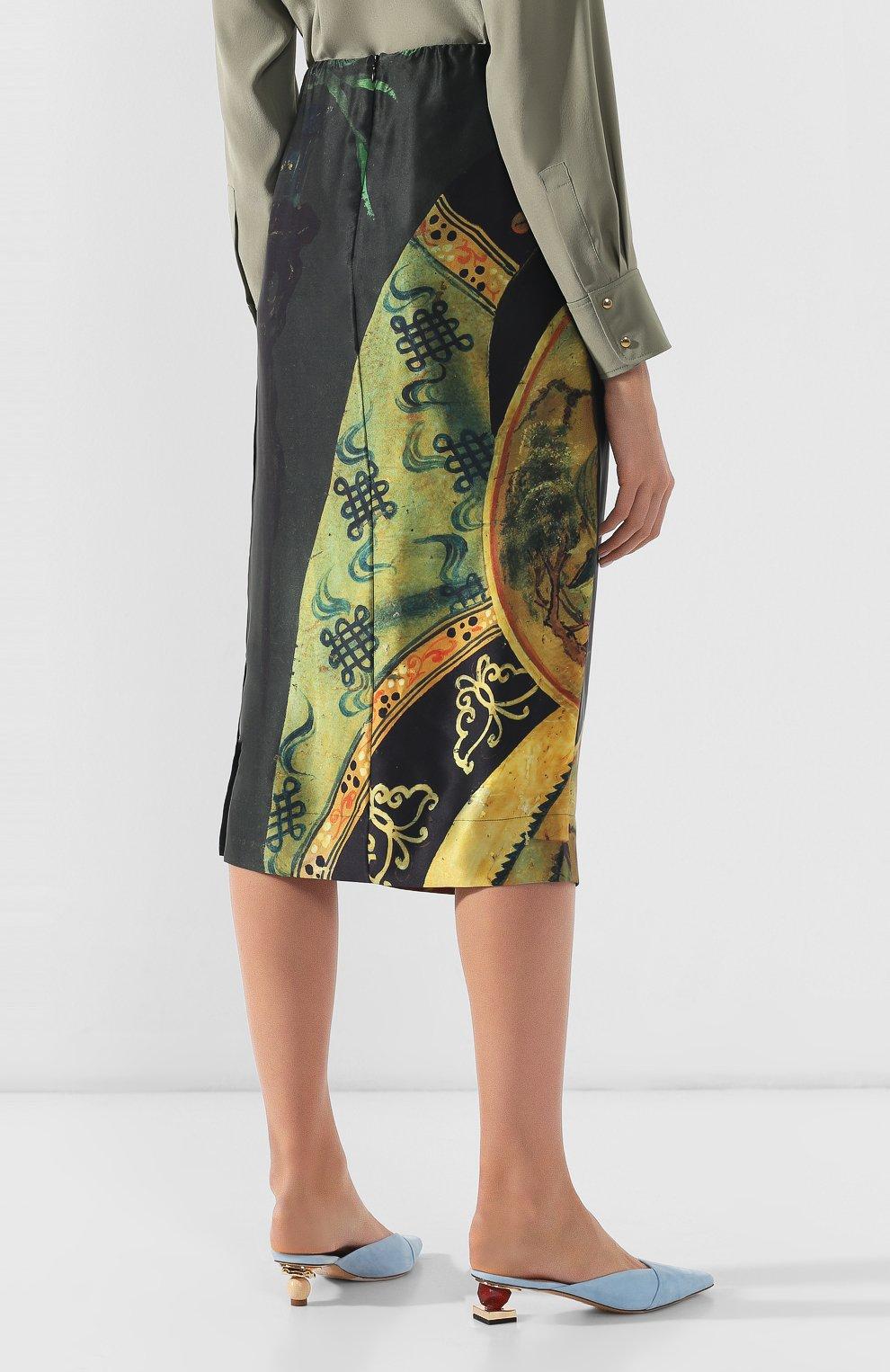 Женская шелковая юбка SIMONE ROCHA черного цвета, арт. 3306/0278   Фото 4 (Материал внешний: Шелк; Длина Ж (юбки, платья, шорты): Миди; Статус проверки: Проверено, Проверена категория)
