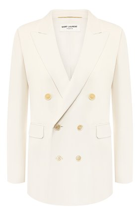 Женский шерстяной жакет SAINT LAURENT белого цвета, арт. 572062/Y513W | Фото 1