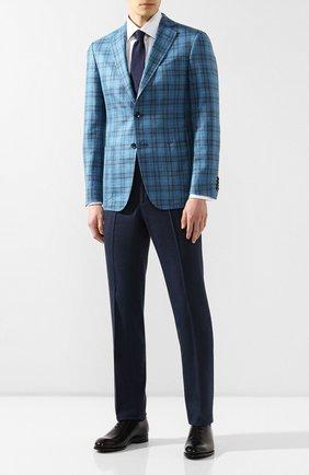 Мужской пиджак из смеси шерсти и шелка ZILLI бирюзового цвета, арт. MNR-SG23-2-56223/0001   Фото 2