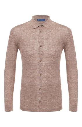 Мужская льняная рубашка ANDREA CAMPAGNA светло-коричневого цвета, арт. 57103/24806 | Фото 1