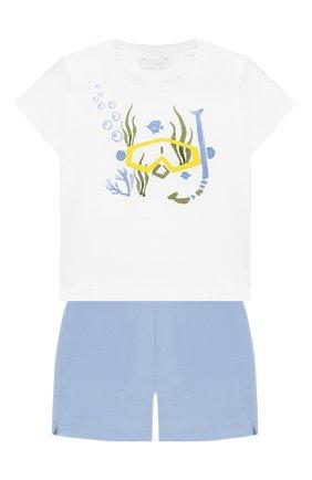 Детский комплект из хлопковой футболки и шорт IL GUFO голубого цвета, арт. P19DP286M0014/12M-18M | Фото 1