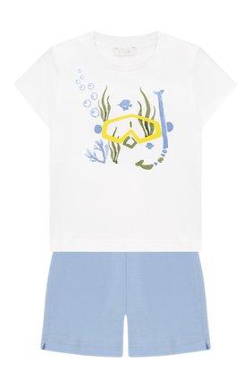 Детский комплект из хлопковой футболки и шорт IL GUFO голубого цвета, арт. P19DP286M0014/3M-9M | Фото 1