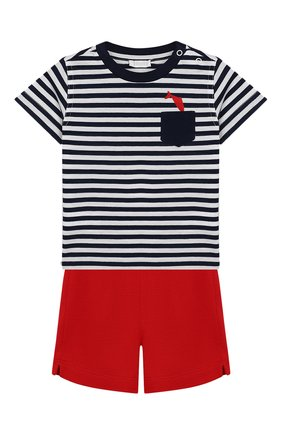 Детский комплект из футболки и шорт IL GUFO синего цвета, арт. P19DP289M1067/3M-9M | Фото 1
