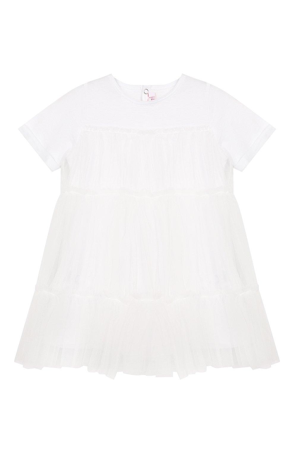 Женский хлопковое платье IL GUFO белого цвета, арт. P19VM483H0018/12M-18M | Фото 1