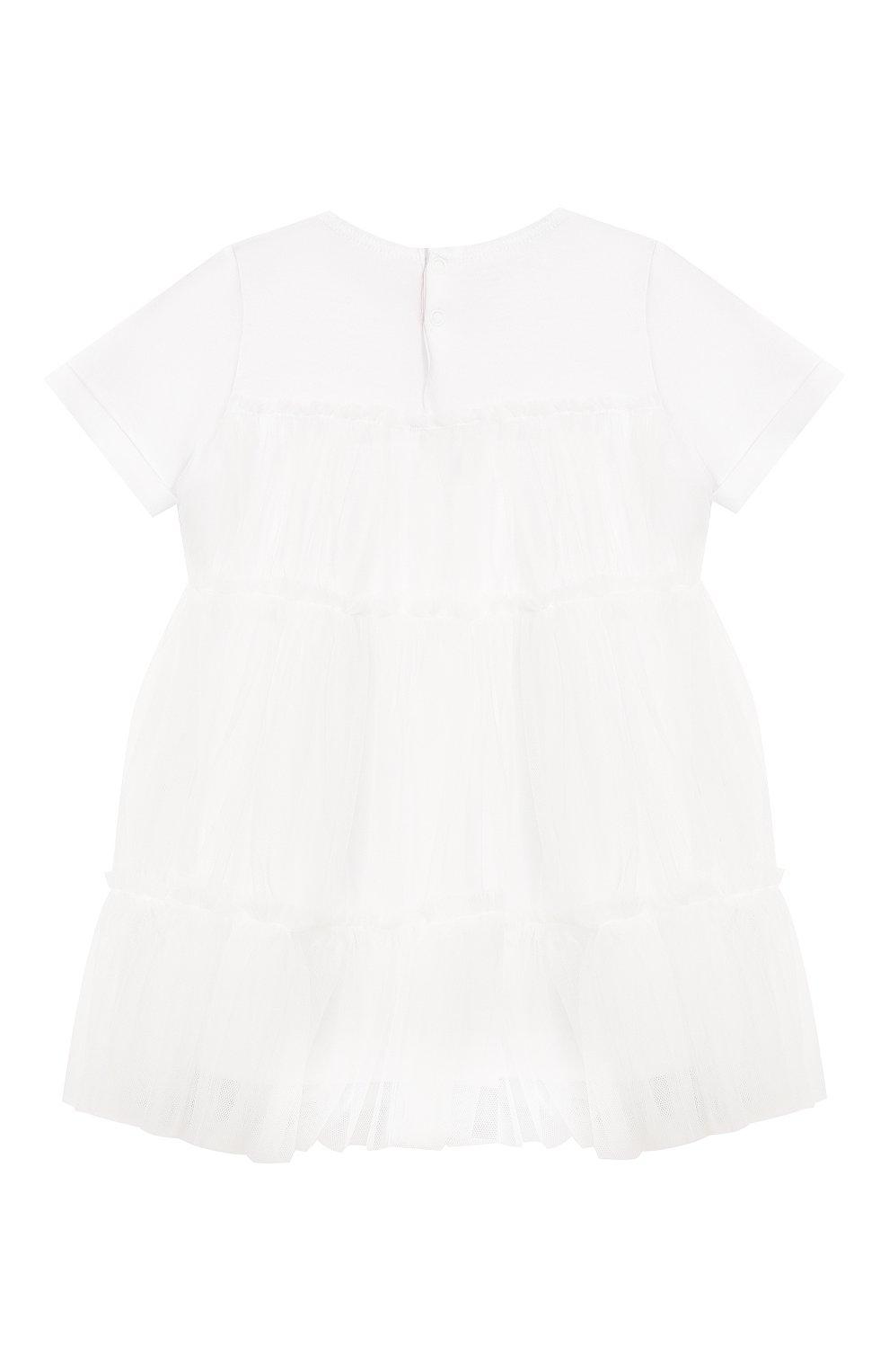Женский хлопковое платье IL GUFO белого цвета, арт. P19VM483H0018/12M-18M | Фото 2