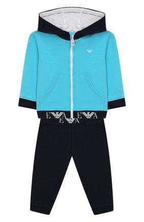 Детский комплект из хлопкового кардигана и брюк EMPORIO ARMANI бирюзового цвета, арт. 3GHV01/4J23Z | Фото 1