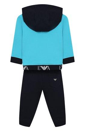 Детский комплект из хлопкового кардигана и брюк EMPORIO ARMANI бирюзового цвета, арт. 3GHV01/4J23Z | Фото 2