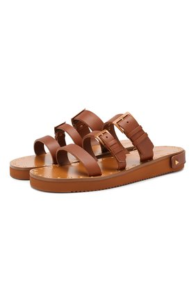Кожаные сандалии Valentino Garavani Escape Valentino коричневые | Фото №1