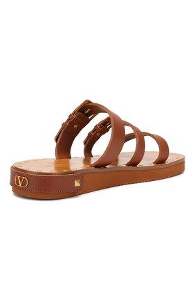 Кожаные сандалии Valentino Garavani Escape Valentino коричневые | Фото №4