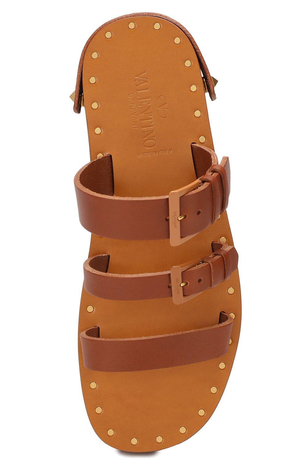 Кожаные сандалии Valentino Garavani Escape Valentino коричневые | Фото №5
