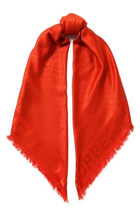 Шарф из смеси шелка и шерсти Burberry оранжевый | Фото №1