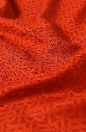 Шарф из смеси шелка и шерсти Burberry оранжевый | Фото №2