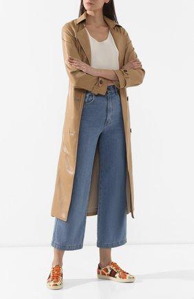 Женские кожаные кеды new ace GUCCI разноцветного цвета, арт. 387993/08L30 | Фото 2