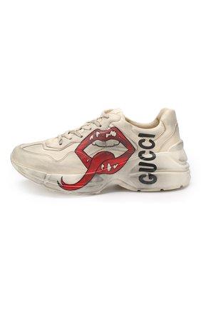 Кожаные кроссовки Rhyton  Gucci белые   Фото №3