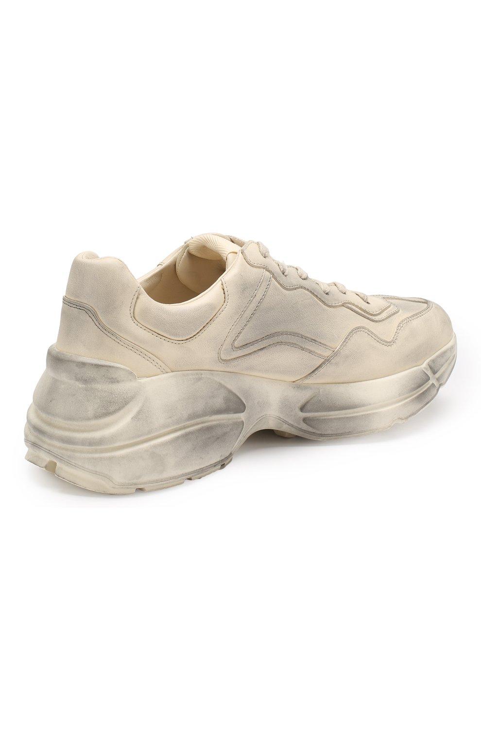 Кожаные кроссовки Rhyton  Gucci белые   Фото №4