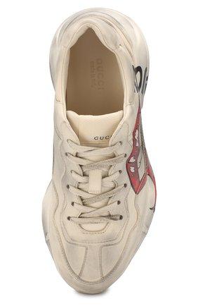 Кожаные кроссовки Rhyton  Gucci белые   Фото №5