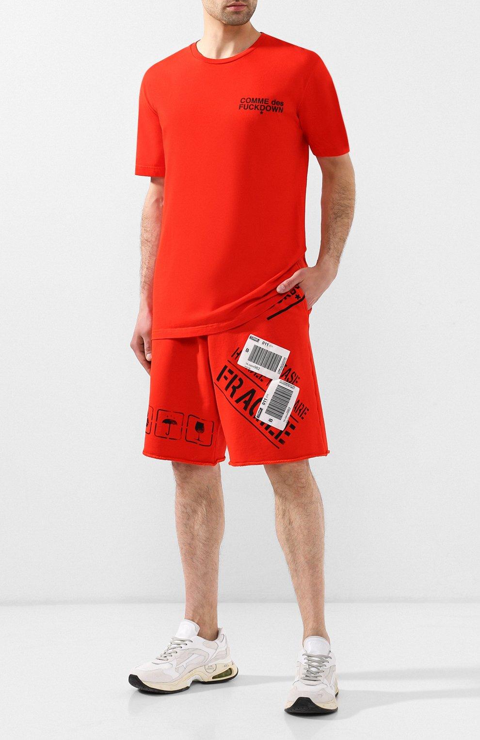 Хлопковые шорты Comme des Fuckdown красные | Фото №2