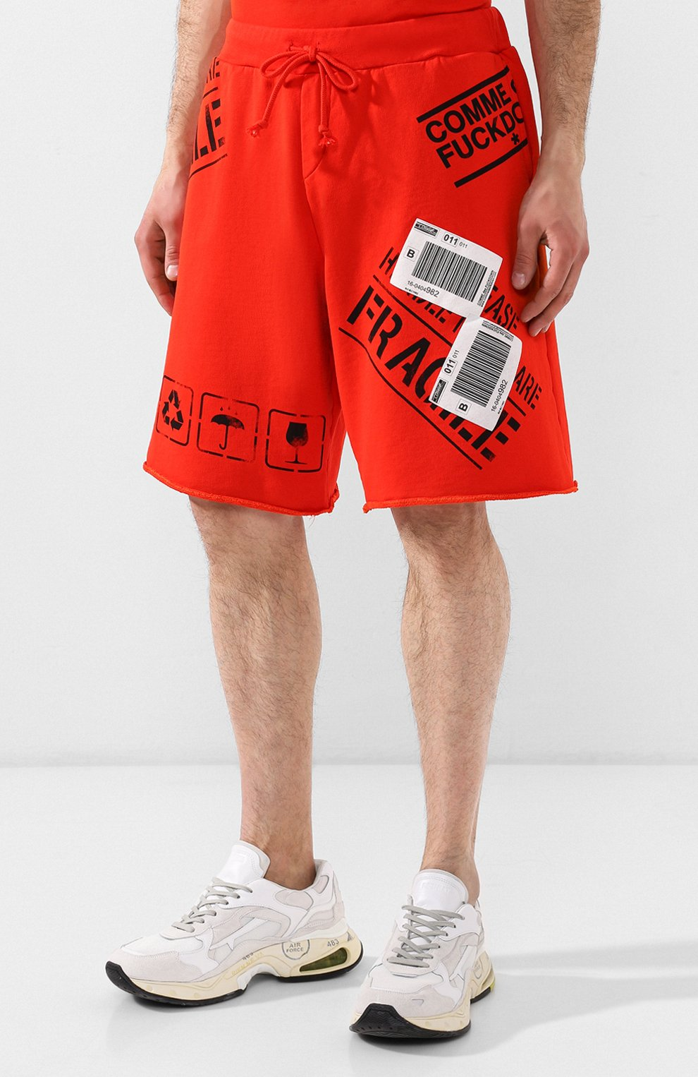 Хлопковые шорты Comme des Fuckdown красные | Фото №3