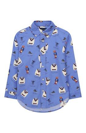 Детская хлопковая рубашка POLO RALPH LAUREN голубого цвета, арт. 322737251 | Фото 1