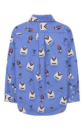 Детская хлопковая рубашка POLO RALPH LAUREN голубого цвета, арт. 322737251 | Фото 2