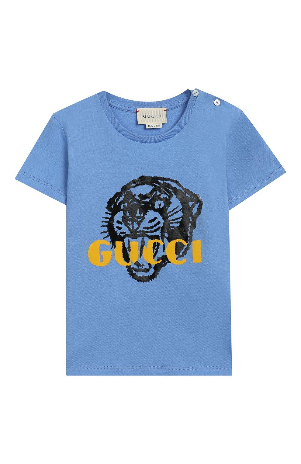 Детский хлопковая футболка GUCCI голубого цвета, арт. 548034/XJAIG | Фото 1