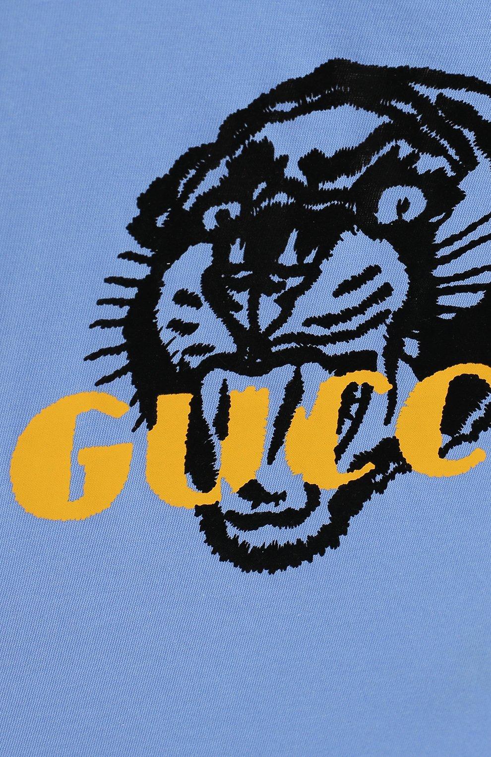 Детский хлопковая футболка GUCCI голубого цвета, арт. 548034/XJAIG | Фото 3