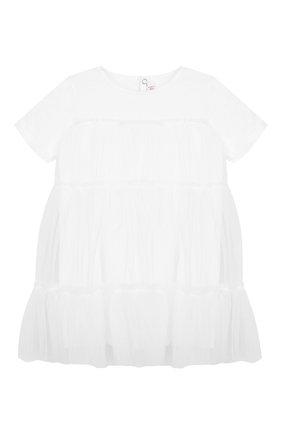 Женский хлопковое платье IL GUFO белого цвета, арт. P19VM483H0018/3M-9M | Фото 1
